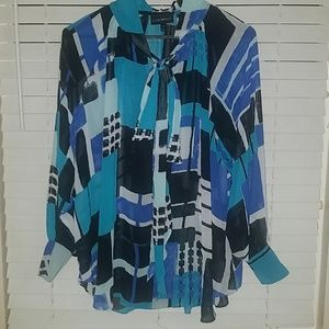 Lane Bryant Plus size sheer blouse with tie collar